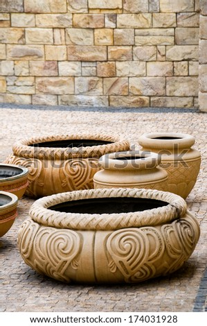 The group of antique decorative clay vases - stock photo