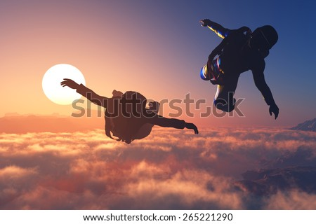 The group of athletes paratroopers - stock photo