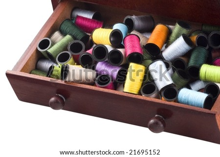 The group of colorful threads in the villages box on a white background