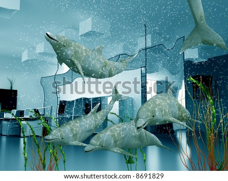 the group of dolphins in modern office interior (3D) - stock photo