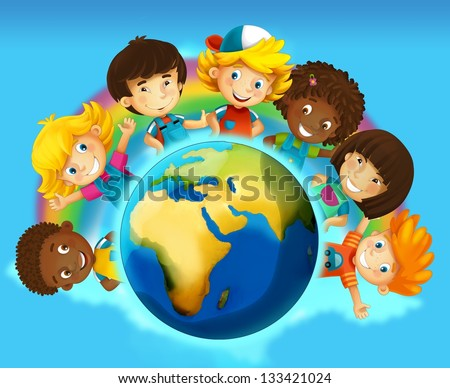 The group of happy preschool kids - around the earth - colorful illustration for the children - stock photo
