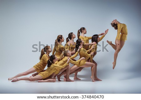 The group of modern ballet dancers  - stock photo