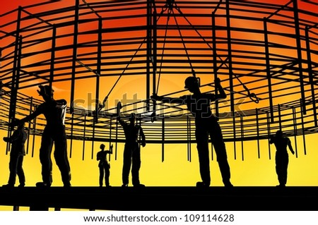 The group of workers working at a construction site.