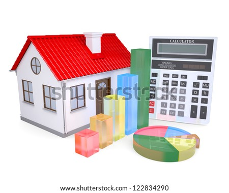 The growth in property prices. Isolated render on a white background - stock photo