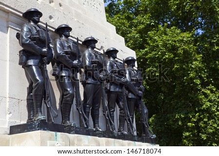 The Guards Memorial in Horse Guards Parade, London.  The memorial commemorates the men of the five Foot Guards Regiments who gave their lives in the Great War. - stock photo