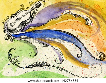 The guitar and the sound of music - stock photo