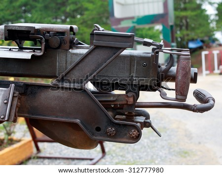 The gun barrel is in the museum - stock photo