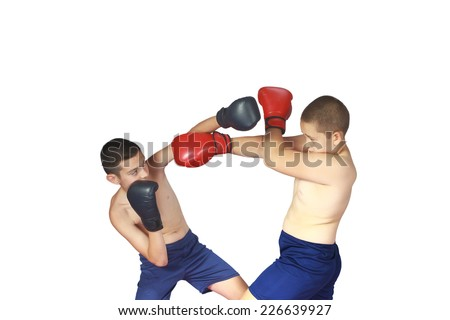 The guy in black boxing gloves hit the other guy in the face