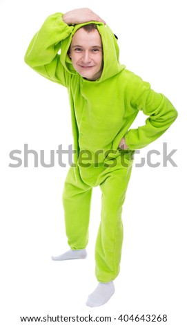 The guy in the green suit fooling around. For the holiday costume - stock photo