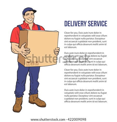 The guy is full height with the box, man holding parcel, color illustration, sketch style hand-drawn to the concept of delivery of stuff, transportation of goods, moving to another house - stock photo