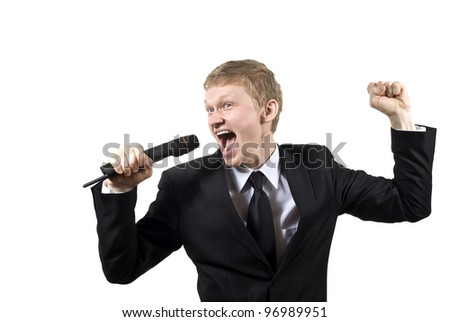 the guy singing into the microphone isolated on a white background - stock photo