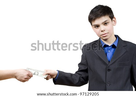 the guy takes the money, isolated on white background