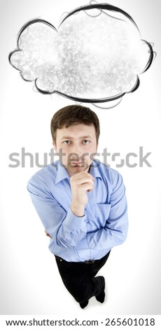 The guy thinks, top view. On a white background - stock photo