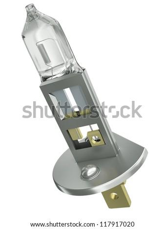 The H1 car lightbulb isolated on white background. 3D render - stock photo