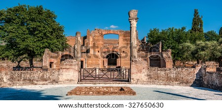 The Hadrian's Villa (Villa Adriana in Italian) is a large Roman archaeological complex at Tivoli, Italy. It was meant to be a retreat from Rome for the Emperor in the early 2nd century. - stock photo
