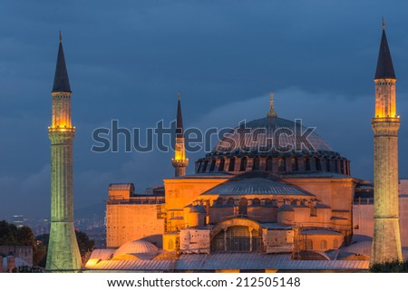 The Hagia Sophia lit up in early evening.