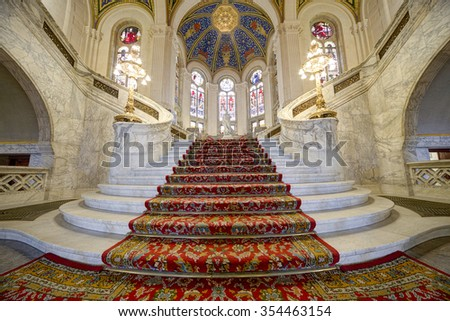 THE HAGUE, 15 December 2015 - Stairs of the Main Hall of the Peace Palace, Seat of the International Court of Justice, principal judicial organ of United Nations - stock photo