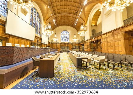 THE HAGUE, 16 December 2015: the International Court of Justice, principal judicial organ of the United Nations located at The Hague is ready to render its decision regarding Nicaragua and Costa Rica - stock photo