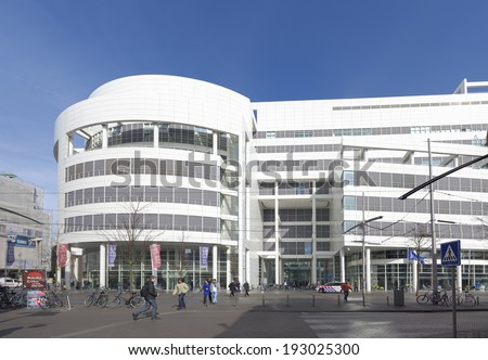 THE HAGUE - MARCH 14, 2014: Exterior of the modern city hall of The Hague, Netherlands.  Designed by Richard Meier, the building costs were 125 million euros.