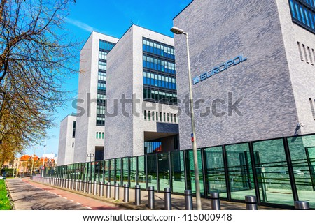 The Hague, Netherlands - April 21, 2016: Europol headquarter in The Hague. It is the European Police department, that has to coordinate the work of the national police in case of organized crime. - stock photo