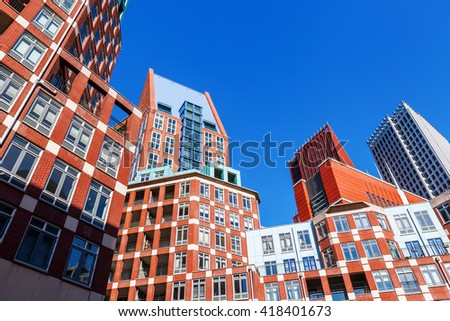 The Hague, Netherlands - April 20, 2016: modern buildings in The Hague. The Hague is the seat of the Dutch government and the 3rd largest city of the Netherlands with 515,880 inhabitants