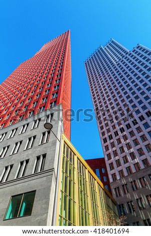 The Hague, Netherlands - April 20, 2016: skyscrapers in The Hague. The Hague is the seat of the Dutch government and the 3rd largest city of the Netherlands with 515,880 inhabitants