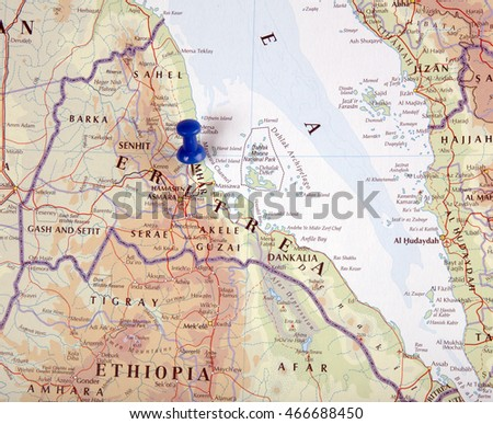the hague, Netherlands-august 10, 2016: Map of Eritrea with pushpin illustrative editorial