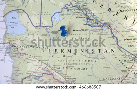 the hague, Netherlands-august 10, 2016: Map of turkmenistan with pushpin illustrative editorial
