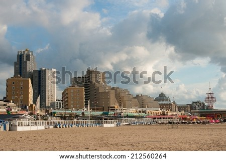 THE HAGUE, NETHERLANDS - AUGUST 21:  View on the famous beach of Scheveningen (near The Hague) in The Netherlands, on August 21, 2014