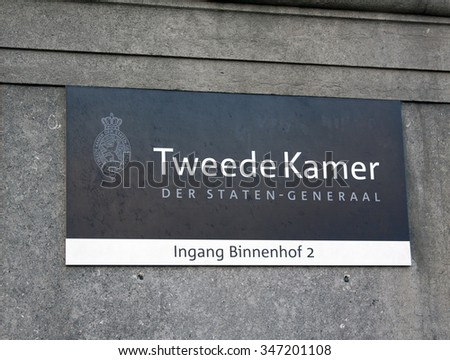 the hague, Netherlands-december 4, 2015: sign second chamber of the States General in The Hague Netherlands