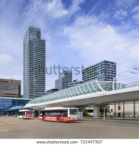 THE HAGUE-SEPT. 17-2017. View on The Hague Central Railway station, with twelve tracks the largest headquarters in the Netherlands. It was opened in 1973 next to the old railway station The Hague.