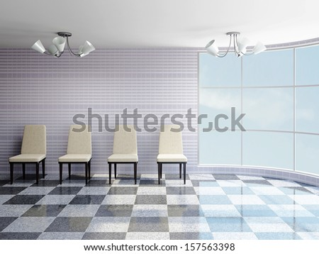 The hall with beige chairs near a wall - stock photo