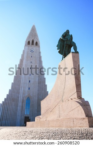 The Hallgrims Church downtown Reykjavik, Iceland - stock photo