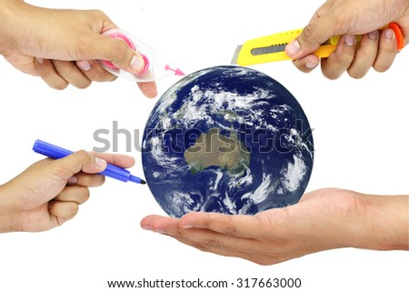 the hand do many things to the world, Elements of this image furnished by NASA