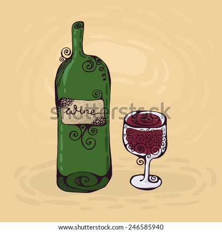 The hand-drawn illustration of the wineglass and bottle of wine - stock photo
