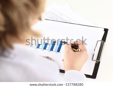 The hand draws the diagram - stock photo