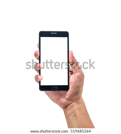 The hand hold the smartphone with isolated screen on white background