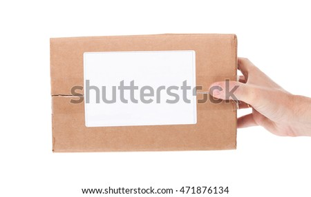 the hand holding cardboard mail box isolated on a White background