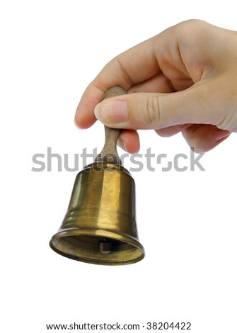 The hand holding the bell - stock photo