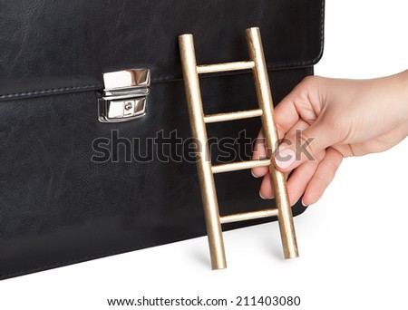 The hand holding the ladder against the background of the business portfolio.