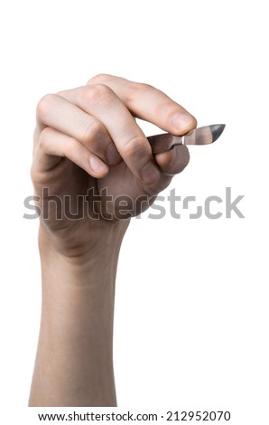 The hand holding the scalpel, white background, isolated - stock photo