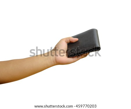 The hand holding wallet on white isolate with clipping path.