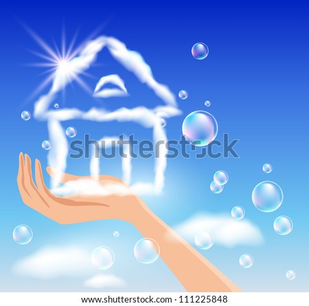 The hand holds a cloud house in the sky. Raster version of vector. - stock photo
