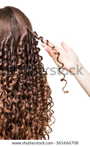 The hand holds a lock of curly hair close up isolated on white background - stock photo