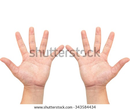 The hand holds a number or say the number ten. Mathematics Teaching Display or demonstration or tutorial. White background - stock photo