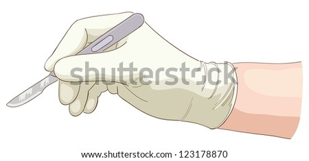 The hand holds a scalpel.  Raster version.