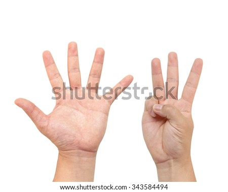 The hand holds the number eight or quantified. Mathematics Teaching Display or demonstration or tutorial. White background - stock photo