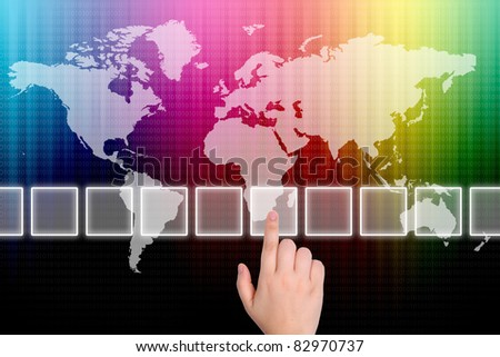 The hand is pressing the  button  on a touch screen interface - stock photo