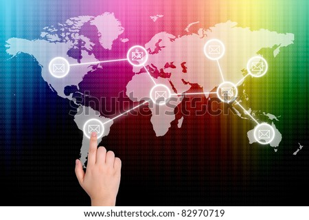 The hand is pressing the button social network - stock photo