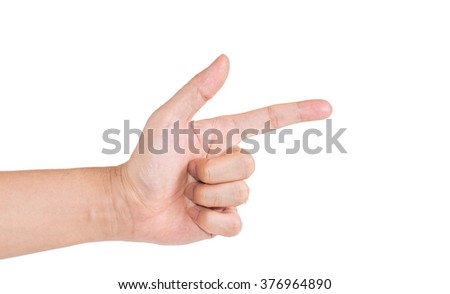 The hand  make with the shape of the gun or pointing